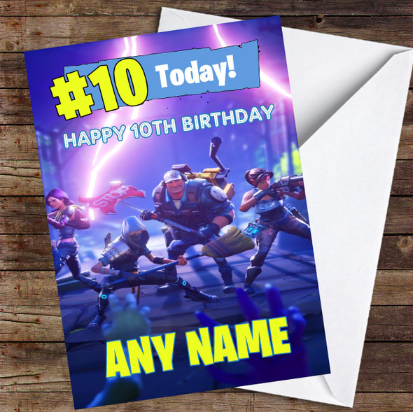 Fortnite Game Save The World Skins Any Age Personalised Children's Birthday Card