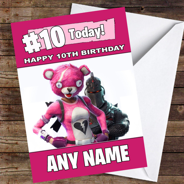 Girls Cuddle Leader Black Knight Fortnite Personalised Children's Birthday Card