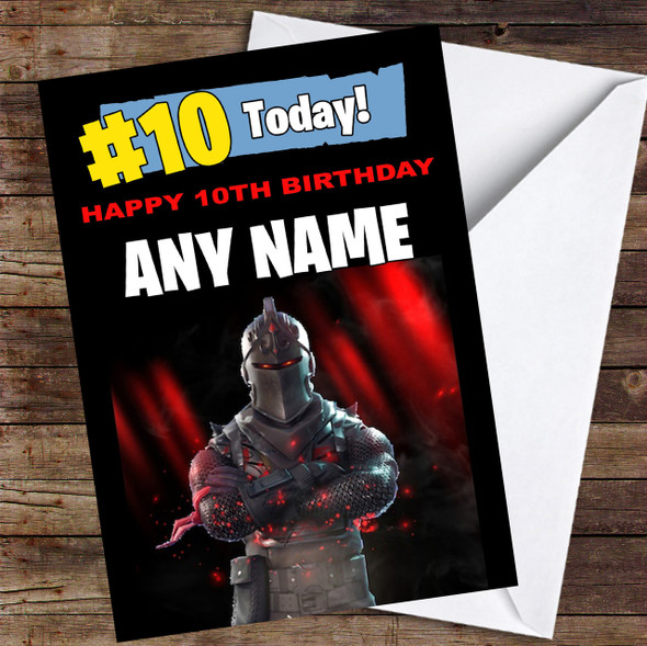 Fortnite Black Knight Any Age Kids Personalised Children's Birthday Card