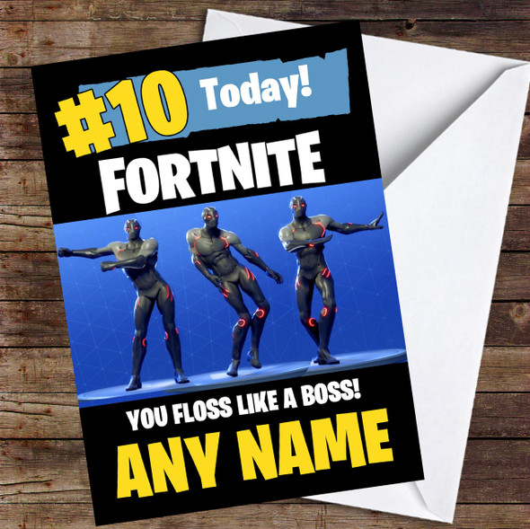 Fortnite Dances Floss Like A Boss Personalised Children's Birthday Card
