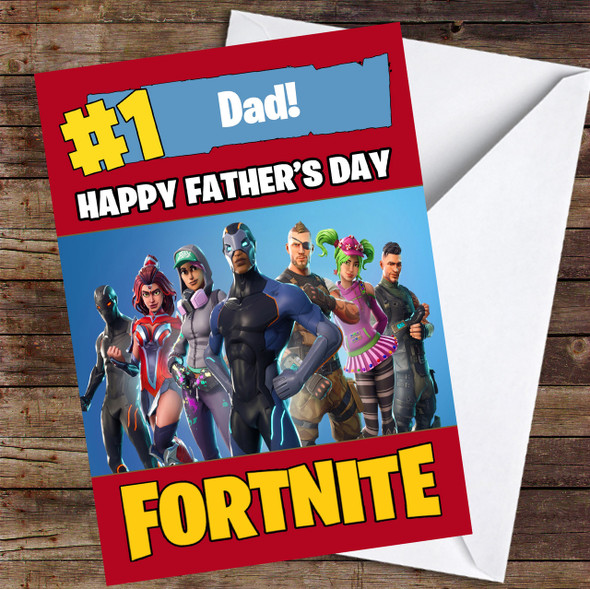 Fortnite Number One Dad Personalised Father's Day Card