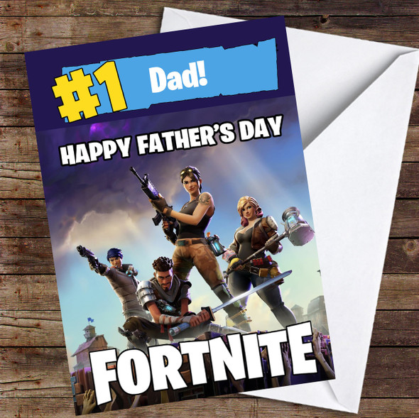 Number One Dad Fortnite Personalised Father's Day Card