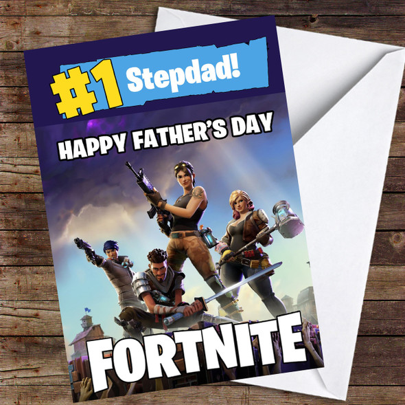 Number One Stepdad Fortnite Personalised Father's Day Card