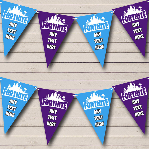 Fortnite Blue Purple Personalised Birthday Party Bunting Banner Garland Flags