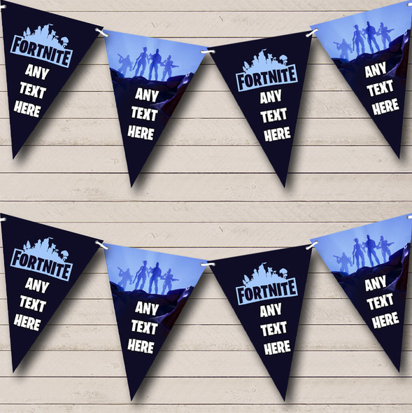 Fortnite Game Blue Personalised Birthday Party Bunting Banner Garland Flags