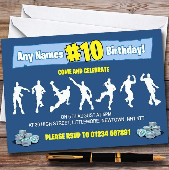 Blue Boys Fortnite Dances Personalised Children's Birthday Party Invitations