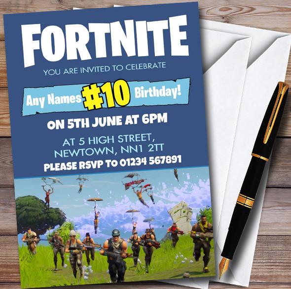 Fortnite Parachute Personalised Children's Birthday Party Invitations
