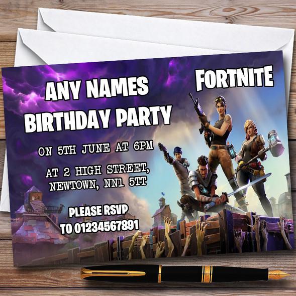Fortnite Personalised Children's Birthday Party Invitations