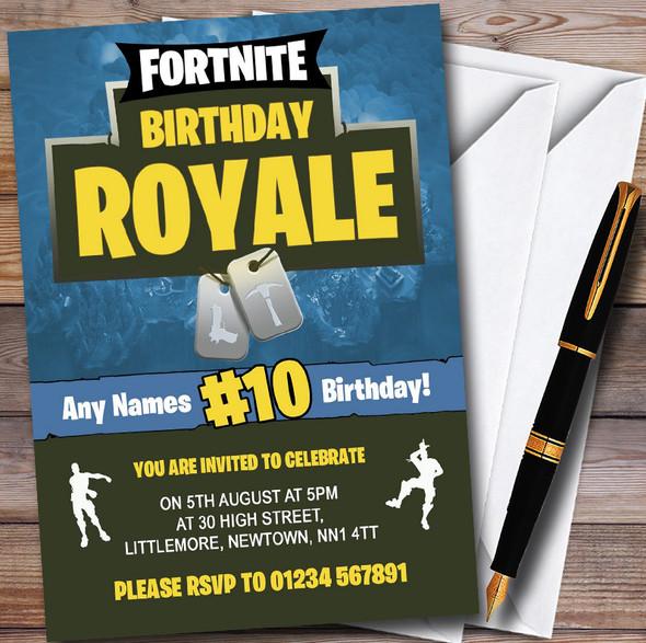Fortnite Birthday Royale Personalised Children's Birthday Party Invitations