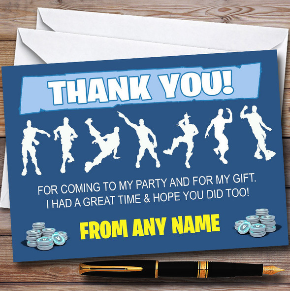 Blue Boys Fortnite Dances Personalised Children's Birthday Party Thank You Cards