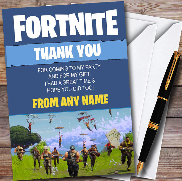 Fortnite Parachute Personalised Children's Birthday Party Thank You Cards