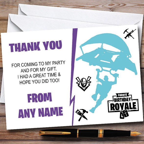 Fortnite White Purple Blue Personalised Birthday Party Thank You Cards
