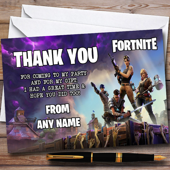 Fortnite Personalised Children's Birthday Party Thank You Cards