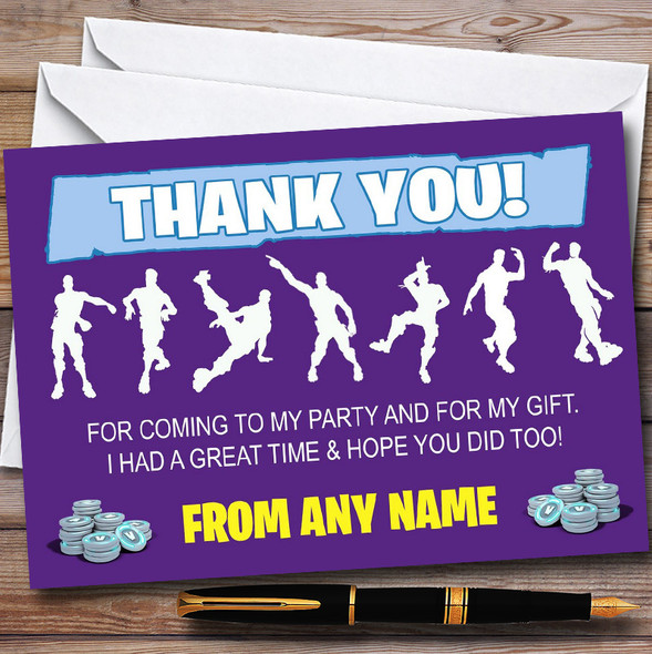 Purple Fortnite Dances Personalised Children's Birthday Party Thank You Cards