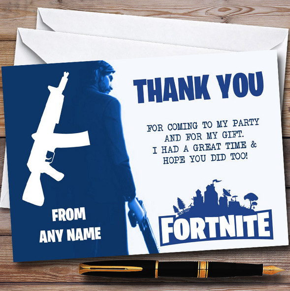 Fortnite Blue  & White John Wick Personalised Birthday Party Thank You Cards