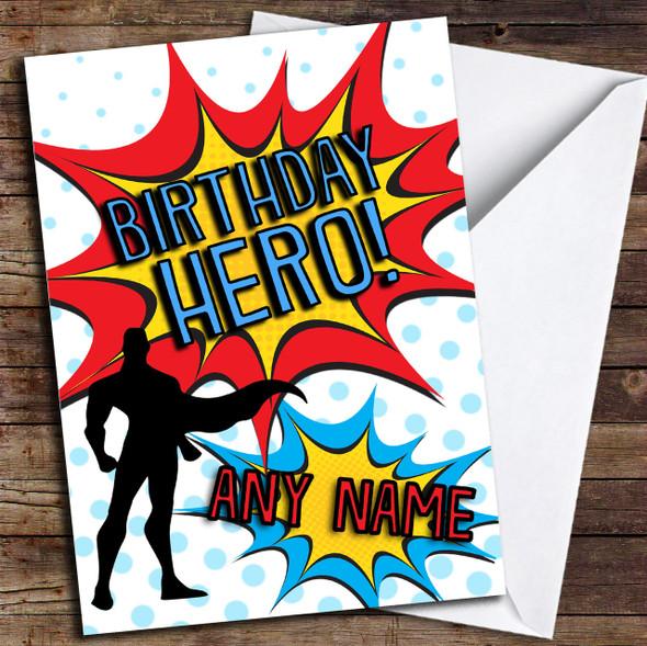 Birthday Hero Superhero Comic Personalised Birthday Card