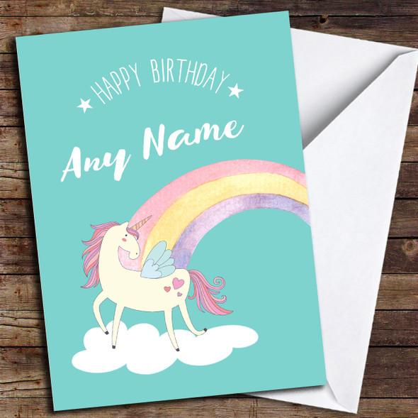 Green Unicorn Rainbow Personalised Birthday Card