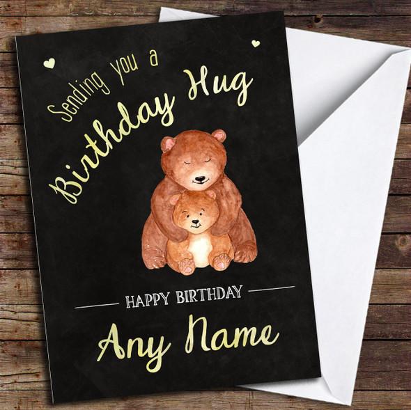 Cute Bear Hug Chalk Personalised Birthday Card