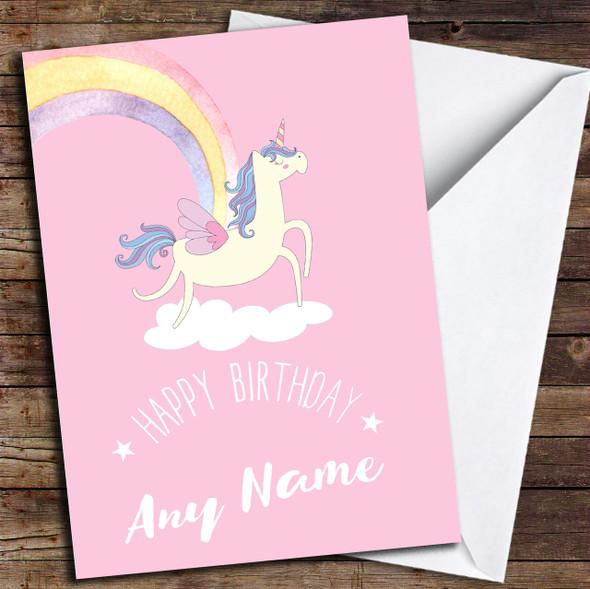 Pink Rainbow Unicorn Personalised Birthday Card