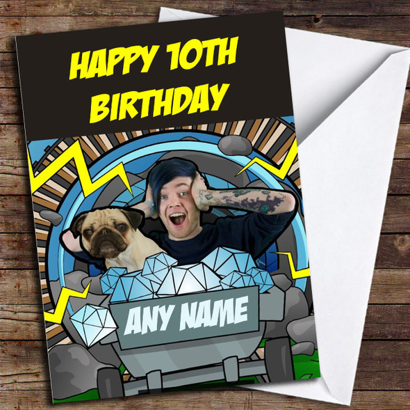 Dan TDM And Pug Personalised Birthday Card