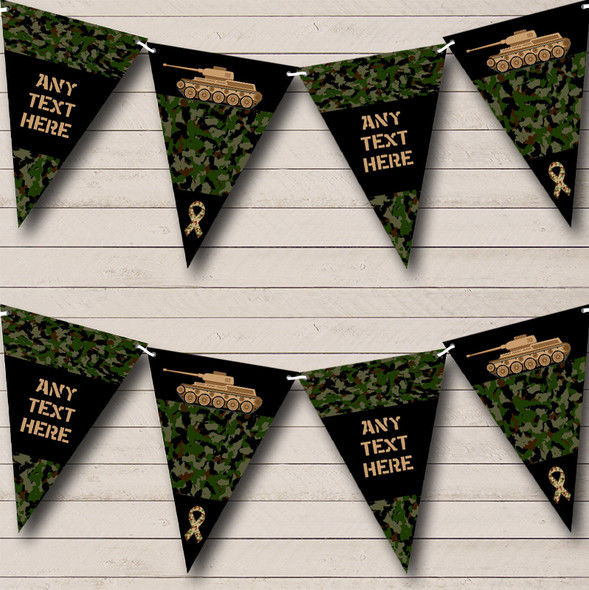 Army Tank Green Camouflage Personalised Childrens Party Bunting