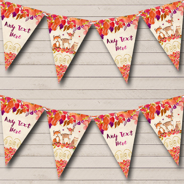 Autumn Fall Woodland Forest Animals Fox Personalised Baby Shower Bunting