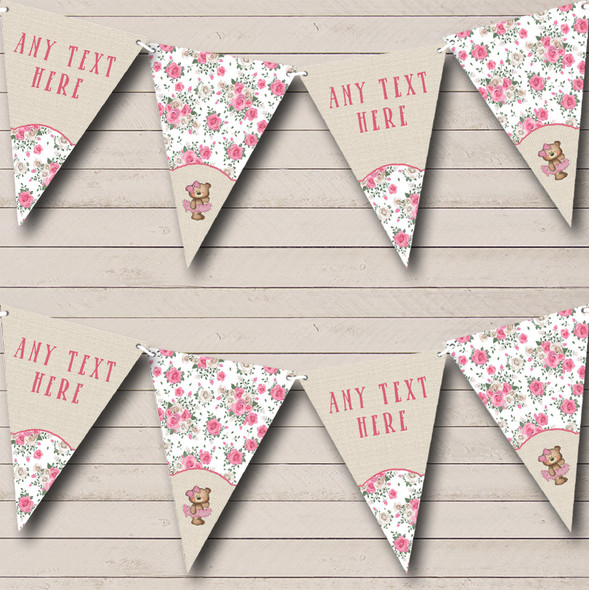 Ballerina Ballet Teddy Pink Burlap Personalised Childrens Party Bunting