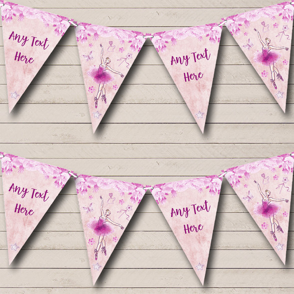 Ballerina Ballet Watercolour Pink Personalised Baby Shower Bunting