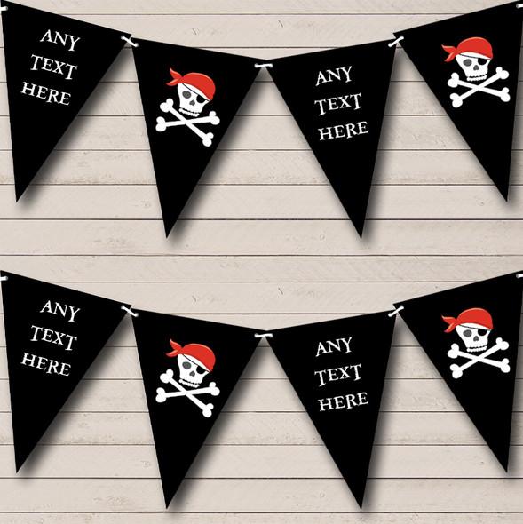 Black Skull Crossbones Pirate Personalised Childrens Party Bunting