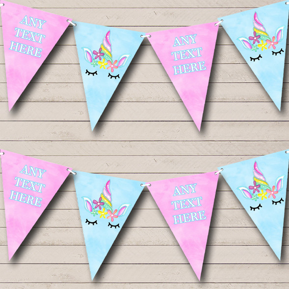 Blue Pink Unicorn Personalised Childrens Party Bunting