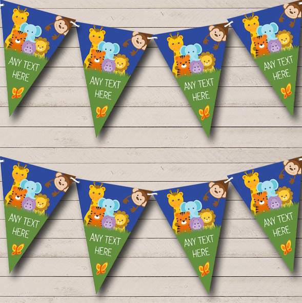 Cute Jungle Animals Personalised Childrens Party Bunting
