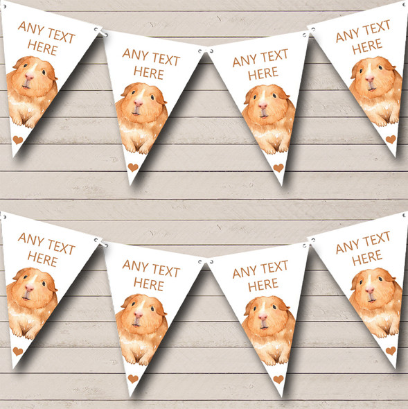 Cute Watercolour Guinea Pig Personalised Childrens Party Bunting
