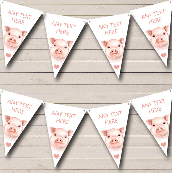 Cute Watercolour Pigs Personalised Childrens Party Bunting