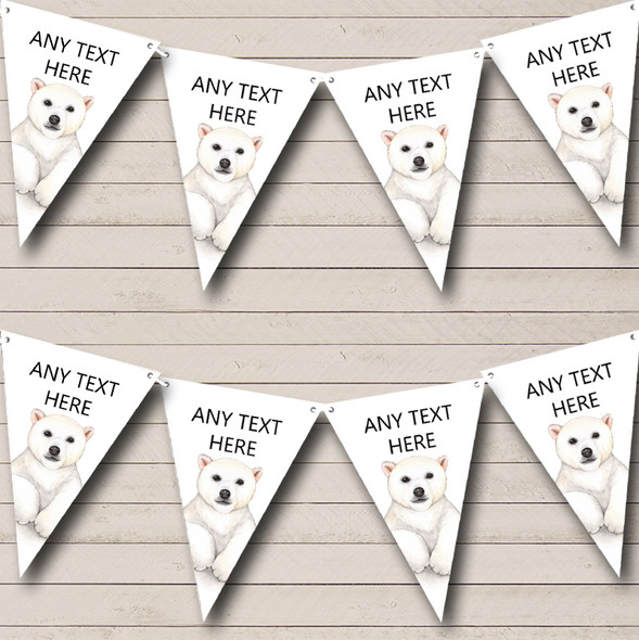 Cute Watercolour Polar Bear Personalised Childrens Party Bunting