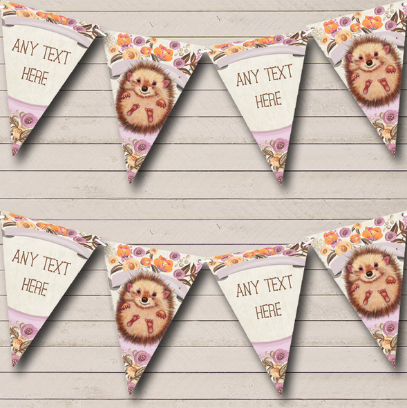 Floral Baby Woodland Hedgehog Personalised Childrens Party Bunting