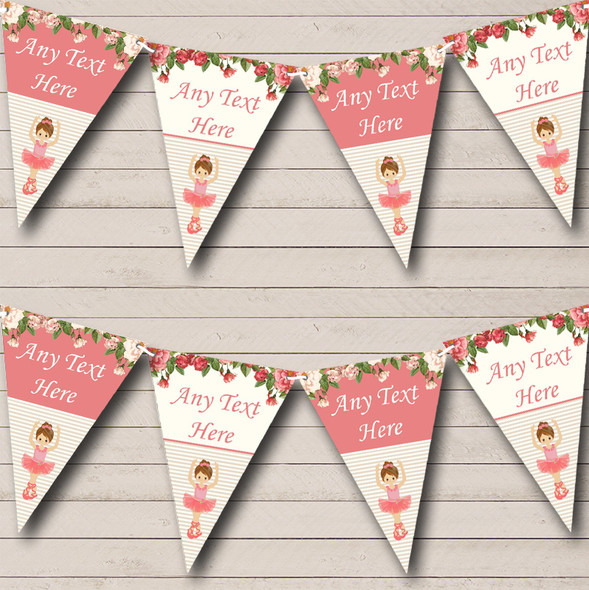 Floral Coral Pink Ballerina Ballet Personalised Childrens Party Bunting