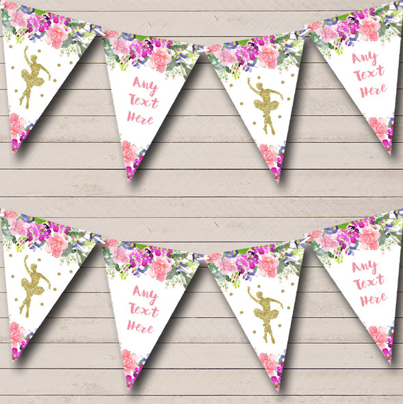 Floral Gold Ballet Ballerina Personalised Childrens Party Bunting