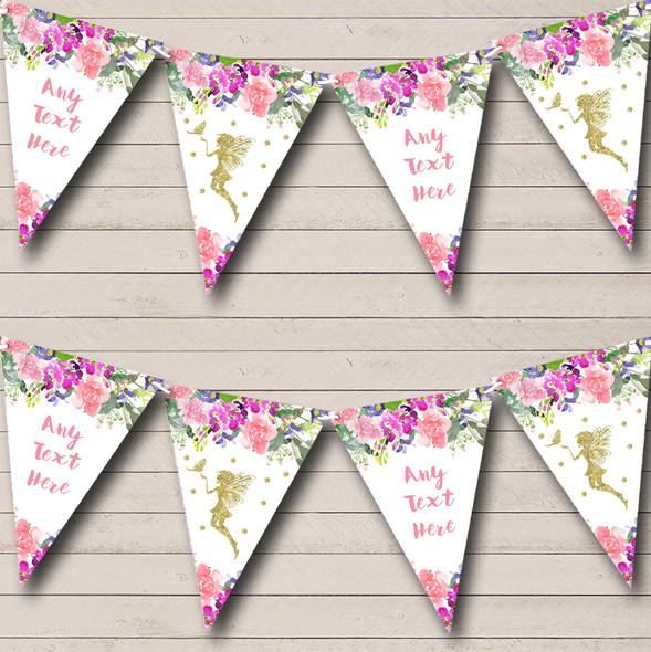 Floral Gold Fairy Personalised Childrens Party Bunting