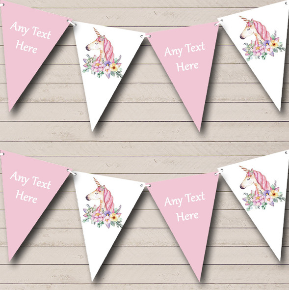 Floral Unicorn Personalised Childrens Party Bunting