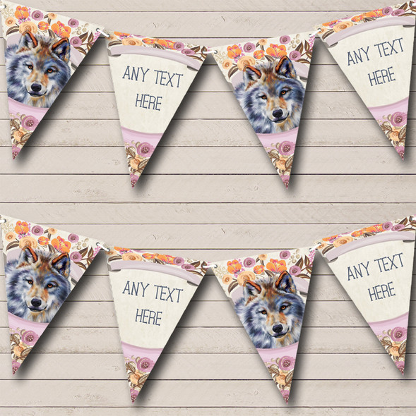 Floral Wolf Personalised Childrens Party Bunting