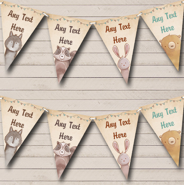Forest Woodland Animals Personalised Childrens Party Bunting