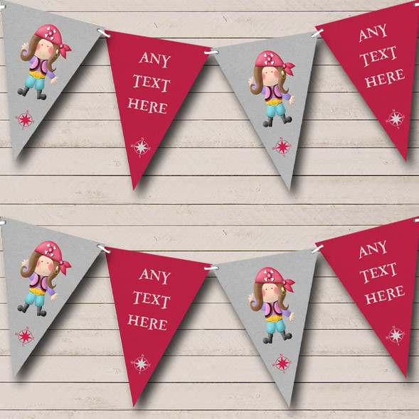 Girl Pirate Pink Personalised Childrens Party Bunting