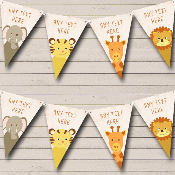 Jungle Animals Cute Personalised Childrens Party Bunting