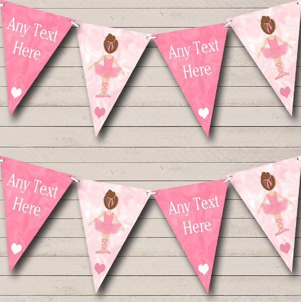 Marble Pink Ballet Ballerina Personalised Childrens Party Bunting