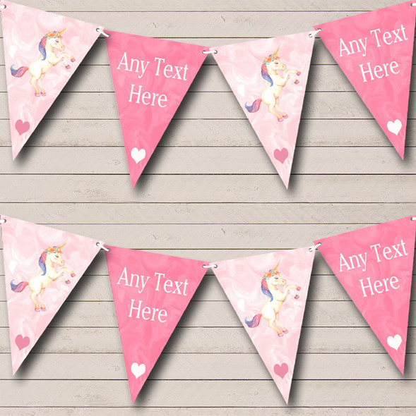 Marble Pink Unicorn Personalised Baby Shower Bunting