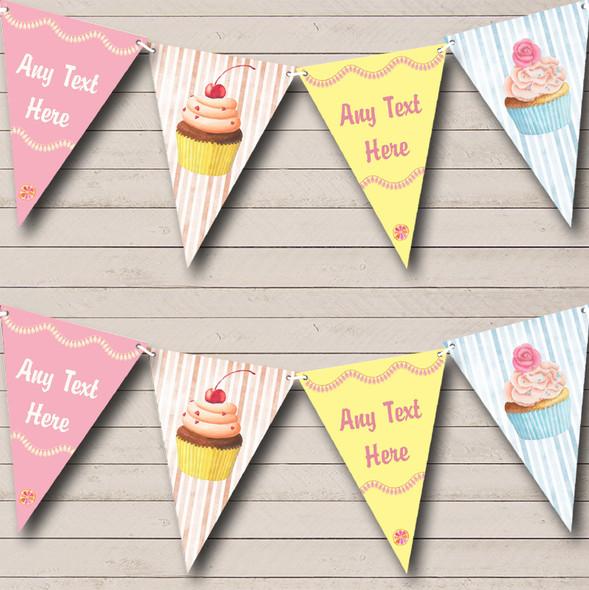 Pastel Cupcake Cake Baking Personalised Childrens Party Bunting