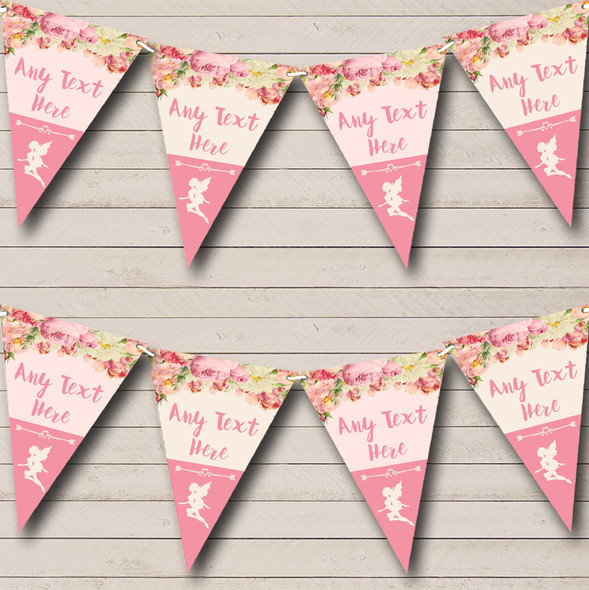 Pink Roses Fairy Personalised Baby Shower Bunting