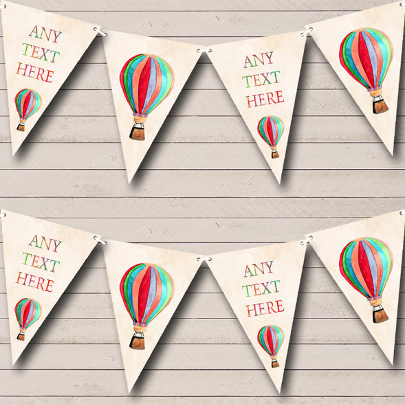 Rainbow Hot Air Balloon Personalised Childrens Party Bunting