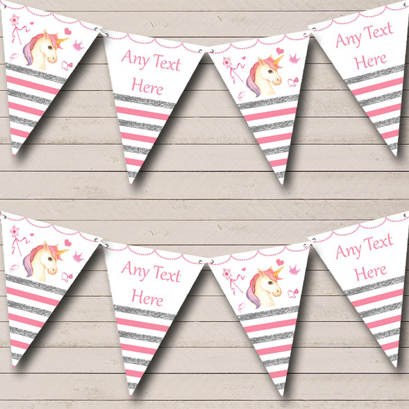 Silver & Pink Stripes Unicorn Personalised Baby Shower Bunting
