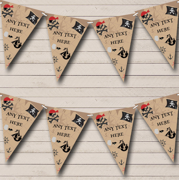 Treasure Map Pirate Personalised Childrens Party Bunting